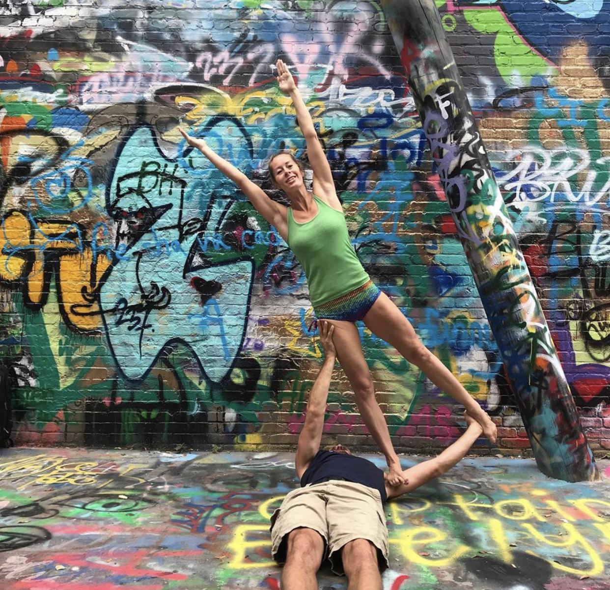 Debbie Collis and Jacob Brown washing machines acro yoga flows online class counter balance